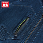 右胸に止水ファスナーを使用。ファスナー内側は蛍光イエローのワンポイント